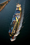 Aerial view of cargo ship entering ship channel, Government Cut, Miami, Florida