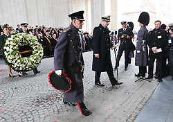 The Duke of Edinburgh and Prince Laurent of Belgium lay wreaths  at the Menin Gate in Ypres, Belgium, at a ceremony on Armistice Day to mark the gathering of soil for the Flanders Fields Memorial Garden at the Guards Museum in London, Monday, 11th November 2013. Picture by Stephen Lock / i-Images