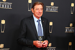 February 2, 2019 - Atlanta, GA, U.S. - ATLANTA, GA - FEBRUARY 02:  Joe Namath poses for photos on the red carpet at the NFL Honors on February 2, 2019 at the Fox Theatre in Atlanta, GA. (Photo by Rich Graessle/Icon Sportswire) (Credit Image: © Rich Graessle/Icon SMI via ZUMA Press)