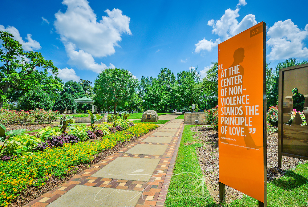 The entrance to Kelly Ingram Park, is pictured, July 12, 2015, in Birmingham, Alabama. The four-acre park is located in the Birmingham Civil Rights District and was one of the main staging area for civil rights activists. Numerous activists were attacked on the site by high-power water hoses and police dogs, with key moments immortalized in bronze throughout the park. (Photo by Carmen K. Sisson/Cloudybright)