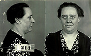 Prostitutes And Madams: Mugshots From When Montreal Was Vice Central<br /> <br /> Montreal, Canada, 1949. Le Devoir publishes a series of articles decrying lax policing and the spread of organized crime in the city. Written by campaigning lawyer Pacifique 'Pax' Plante (1907 – 1976) and journalist Gérard Filion, the polemics vow to expose and root out corrupt officials.<br /> <br /> With Jean Drapeau, Plante takes part in the Caron Inquiry, which leads to the arrest of several police officers. Caron JA's Commission of Inquiry into Public Morality began on September 11, 1950, and ended on April 2, 1953, after holding 335 meetings and hearing from 373 witnesses. Several police officers are sent to prison.<br /> <br /> During the sessions, hundreds of documents are filed as evidence, including a large amount of photos of places and people related to vice.  photos of brothels, gambling dens and mugshots of people who ran them, often in cahoots with the cops – prostitutes, madams, pimps, racketeers and gamblers.<br /> <br /> Photo shows: Lina Tony 1940 – arrested on 1 December 1941 for running a brothel at 1244 Berger, and at 1242 on the same street, on 26 August 1941.<br /> ©Archives de la Ville de Montréal/Exclusivepix Media