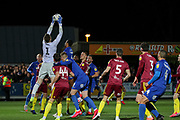 AFC Wimbledon striker Joe Pigott (39) watches as Ipswich Town goalkeeper Tomas Holy (1) saves from AFC Wimbledon defender Terell Thomas (6)) during the EFL Sky Bet League 1 match between AFC Wimbledon and Ipswich Town at the Cherry Red Records Stadium, Kingston, England on 11 February 2020.
