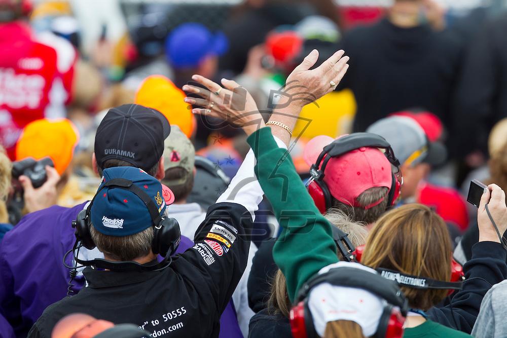 KANSAS CITY, KS - APR 22, 2012:  Fans enjoy the STP 400 at the Kansas Speedway in Kansas City, KS.