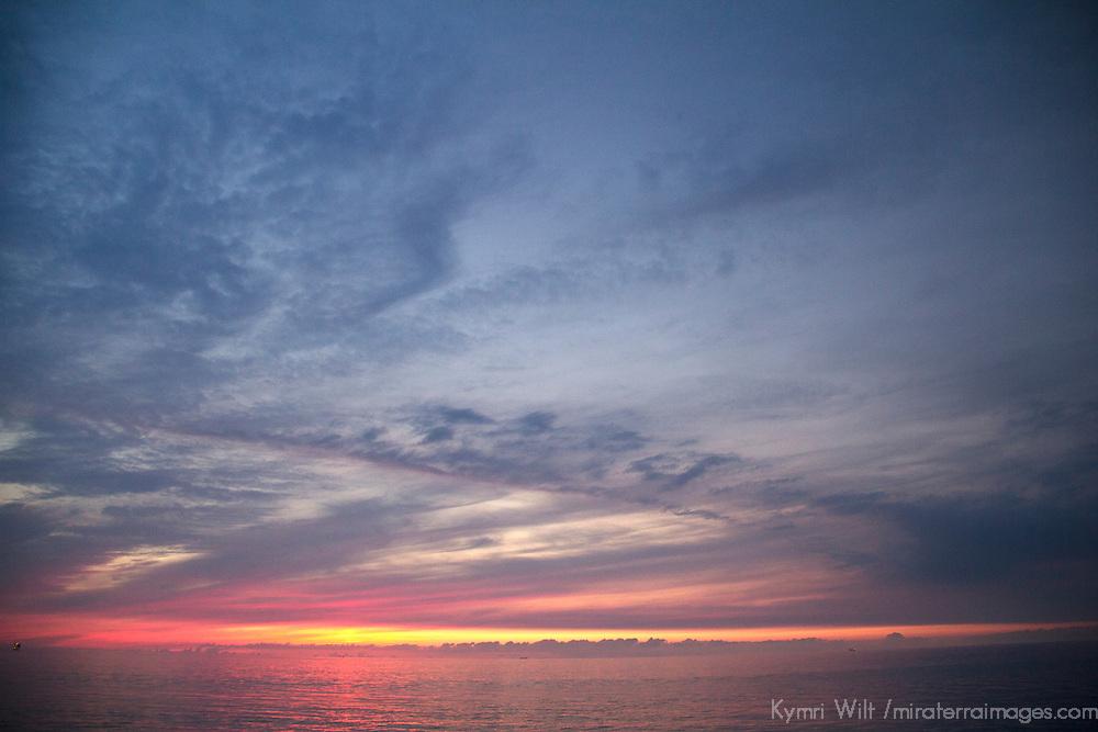 Europe, Netherlands, Amsterdam. Cruise Sunset off coast of the Netherlands.