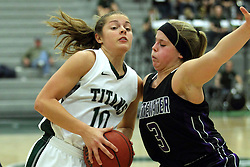 25 November 2014:  Gabby Weber & Reilly Stewart during an NCAA women's division 3 CCIW basketball game between the Wisconsin Whitewater Warhawks and the Illinois Wesleyan Titans in Shirk Center, Bloomington IL