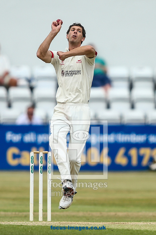 Charlie Schreck of Leicestershire in delivery stride during the Specsavers County C'ship Div Two match at the County Ground, Northampton<br /> Picture by Andy Kearns/Focus Images Ltd 0781 864 4264<br /> 14/08/2016