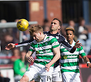 Celtic&rsquo;s Stuart Armstrong and Dundee&rsquo;s Tom Hateley battle for the ball  - Dundee v Celtic in the Ladbrokes Scottish Premiership at Dens Park, Dundee.Photo: David Young<br /> <br />  - &copy; David Young - www.davidyoungphoto.co.uk - email: davidyoungphoto@gmail.com