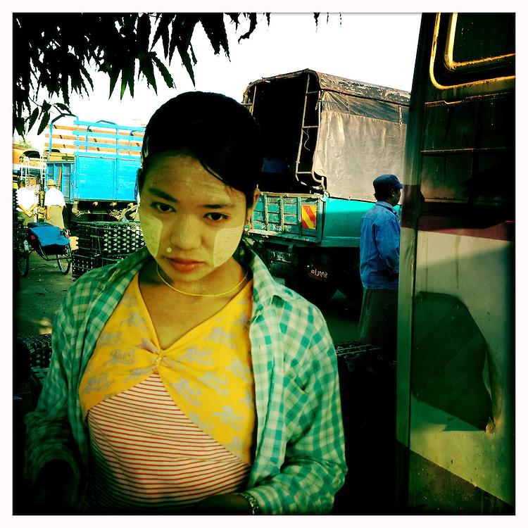 Food vendor at the Port of Yangon (Rangoon) Myanmar (Burma) January 2012