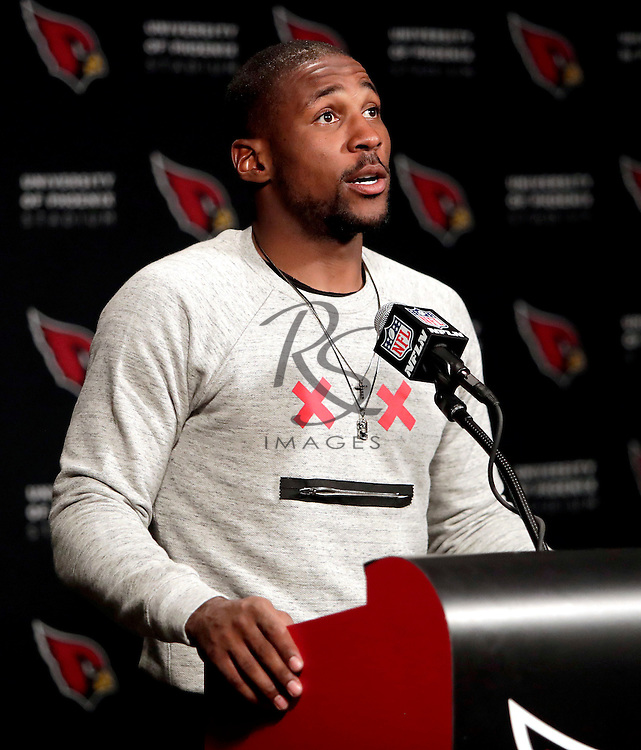 Arizona Cardinals cornerback Patrick Peterson speaks after an NFL football game against the Washington Redskins, Sunday, Dec. 4, 2016, in Glendale, Ariz. The Cardinals won 31-23. (AP Photo/Rick Scuteri)