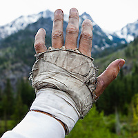 A closeup view of a climbers dirty hand wrapped up for crack climbing, Icicle Canyon, Washington, USA. Self Portrait.