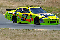 June 24, 2011; Sonoma, CA, USA;  NASCAR Sprint Cup Series driver Paul Menard (27) during practice for the Toyota/Save Mart 350 at Infineon Raceway.