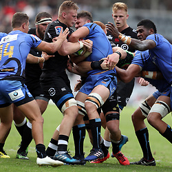 Jean-Luc du Preez of the Cell C Sharks tackling Brynard Stander of Western Force during the Super Rugby match between the Cell C Sharks and the Western Force at Growthpoint Kings Park on May 06, 2017 in Durban, South Africa. (Photo by Steve Haag)