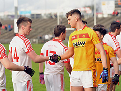 Castlebar Mitchels Barry Moran and Ballintubber&rsquo;s Cillian O&rsquo;Connor&rsquo;s shake hands before the County Senior final at McHale park on sunday last.<br /> Pic Conor Mckeown