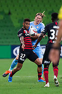 MELBOURNE, AUSTRALIA - SEPTEMBER 18: Kwame Yeboah (27) of the Wanderers is challenged for the ball during the FFA Cup Quarter Finals match between Melbourne City FC and Western Sydney Wanderers FC at AAMI Park on September 18, 2019 in Melbourne, Australia. (Photo by Speed Media/Icon Sportswire)