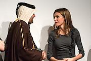Letizia Ortiza and Abdulla bin Ali Al Thani at 4th Teaching Awards to education stakeholders
