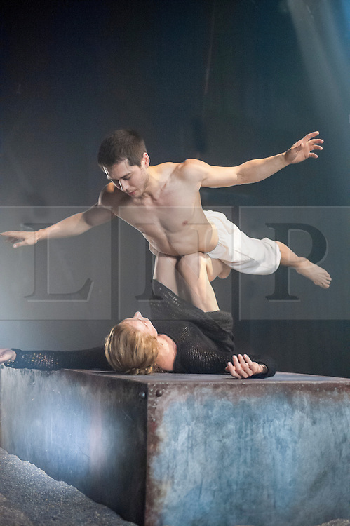 (c)Licensed to London News Pictures. 05/09/2014. London. England. Tommy Franzen and Zenaida Yakowsky in Kim Brandstrup's Leda and the Swan. In the myth Zeus seduces Leda by transforming into a swan, Brandstrup extends this by having Leda seduce Zeus afterwards. credit Carole Edrich/LNP