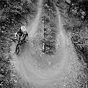 Andrew Whiteford hooks into a Singletrack switchback in Jackson Wyoming.
