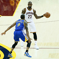 07 June 2017: Golden State Warriors forward Andre Iguodala (9) defends on Cleveland Cavaliers forward LeBron James (23) during the Golden State Warriors 118-113 victory over the Cleveland Cavaliers, in game 3 of the 2017 NBA Finals, at  the Quicken Loans Arena, Cleveland, Ohio, USA.