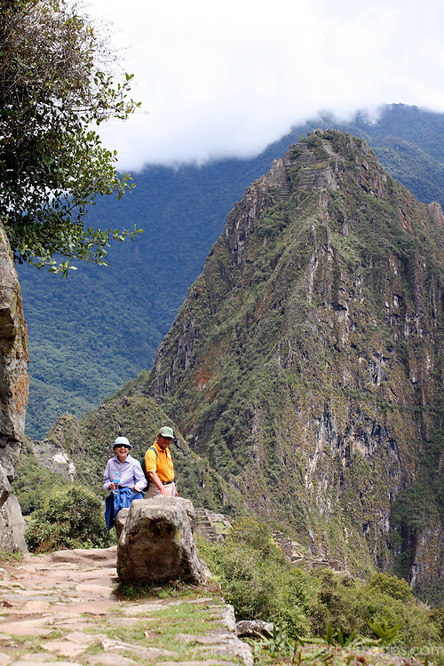 South America, Latin America, Peru, Urubamba. Trail from Intipunku (Sun Gate) to Machu Picchu.