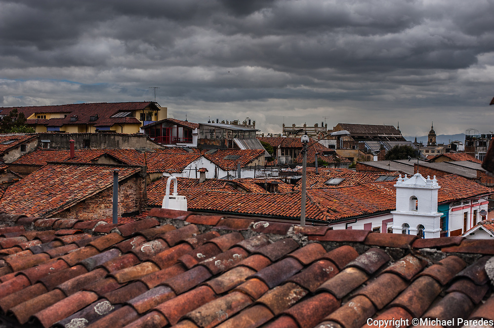 A view over the rooftops of Bogotá  in la Candelaria neighborhood