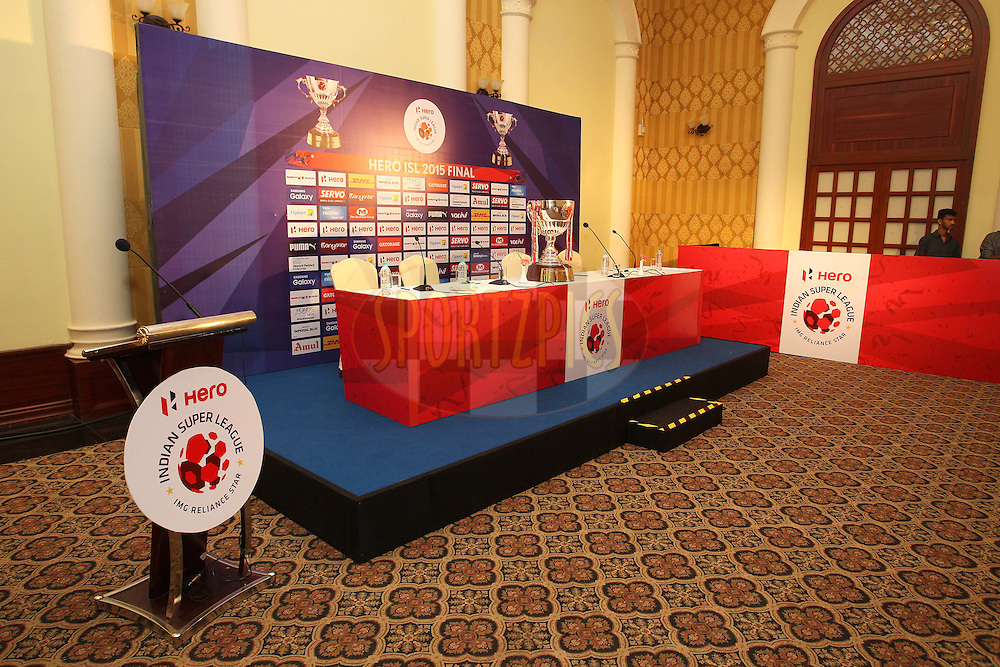 General view during the Pre Final Press Conference of the Indian Super League (ISL) season 2 between FC Goa and Chennaiyin FC held at the Radisson Blu Resort, Goa, India on the 19th December  2015.<br /> <br /> Photo by Shaun Roy / ISL / SPORTZPICS
