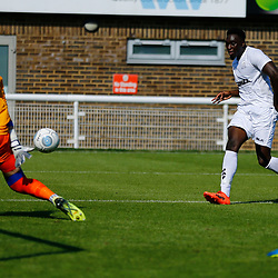 Action during the pre-season friendly match between Dover Athletic and Gillingham FC at Crabble Stadium, Kent on 21 July 2018. Gillingham ran out 3 to nothing winners. Photo by Matt Bristow.