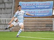 Nicolas Mortensen (FC Helsingør) scorer til 1-0 under kampen i 2. Division mellem FC Helsingør og Holbæk B&I den 6. september 2019 på Helsingør Ny Stadion (Foto: Claus Birch).