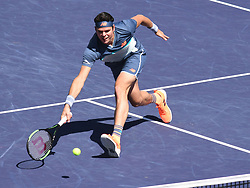 March 16, 2019 - Indian Wells, CA, U.S. - INDIAN WELLS, CA - MARCH 16: Milos Raonic (CAN) in action during his semifinal loss in the BNP Paribas Open on March 16, 2019, at Indian Wells Tennis Garden in Indian Wells, CA. (Photo by Cynthia Lum/Icon Sportswire) (Credit Image: © Cynthia Lum/Icon SMI via ZUMA Press)