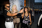 VERNON FRANCOIS; MIA MORE; ' VASSY'  Visa Swap launch party. No1 The Piazza. Covent Garden. London. 16 July 2008.  *** Local Caption *** -DO NOT ARCHIVE-© Copyright Photograph by Dafydd Jones. 248 Clapham Rd. London SW9 0PZ. Tel 0207 820 0771. www.dafjones.com.
