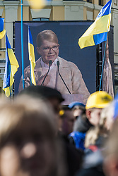 March 29, 2019 - Kiev, Kiev, Ukraine - Yulia Tymoshenko in a large television screen, gives a speech during a rally in Kiev, Ukraine, on 29 March 2019 she is the candidate for president of the Batkivshchyna party in the ukrainian elections  (Credit Image: © Celestino Arce/NurPhoto via ZUMA Press)