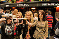 Sharon Collins, Sinead Byrne Paula Raftery, Caoimhe Daly all from Galway City at the Quays bar for Arthur's day Galway 2011 celebrating Guinness . Photo:Andrew Downes.