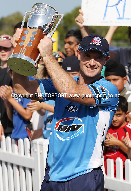 Auckland captain Gareth Hopkins with the HRV Cup as he celebrates victory over CD. Twenty20 Cricket, HRV Cup Final 2010/11. Auckland Aces v Central Stags, Colin Maiden Park, Auckland. Sunday 2 January 2011. Photo: Andrew Cornaga/photosport.co.nz