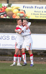 Airdrie's Iain Russell cele scoring their second goal with first scorer Airdrie's Andrew Ryan. Half time : Albion Rover 0 v 2 Airdrie, Scottish League 1 game played 5/11/2016 at Cliftonhill.