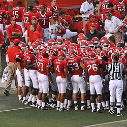Sep 12, 2009; Piscataway, NJ, USA; Rutgers head coach Greg Schiano talks to his defense during the second half of Rutgers' 45-7 victory over Howard in NCAA college football at Rutgers Stadium