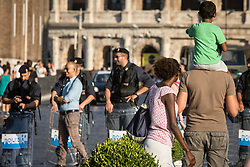 August 26, 2017 - Rome, Italy, Italy - Refugees and members of non governmental organizations stage a protest against eviction by Italian security forces and removing from a building where they had been living at Esquilino Square in Rome, Italy on August 26, 2017  (Credit Image: © Andrea Ronchini/NurPhoto via ZUMA Press)