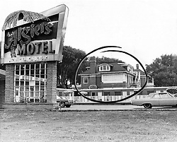 July 30, 1967 - Michigan, U.S. - The Manor House, circled, where three young Negroes were found slain in late July 1967. It is a three story home turned into an annex for the Algiers Motel, 8301 Woodward Avenue in Detroit. The first building north the motel on Virginia Park, it contains 15 kitchenette apartments. The bodies were found on the first floor, which in this picture is hidden by a 1 story wing of the motel. (Credit Image: © Detroit Free Press via ZUMA Wire)