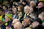 Norwich city owners Sell Smith and Michael Wynn Jones celebrating promotion after the EFL Sky Bet Championship match between Norwich City and Blackburn Rovers at Carrow Road, Norwich, England on 27 April 2019.
