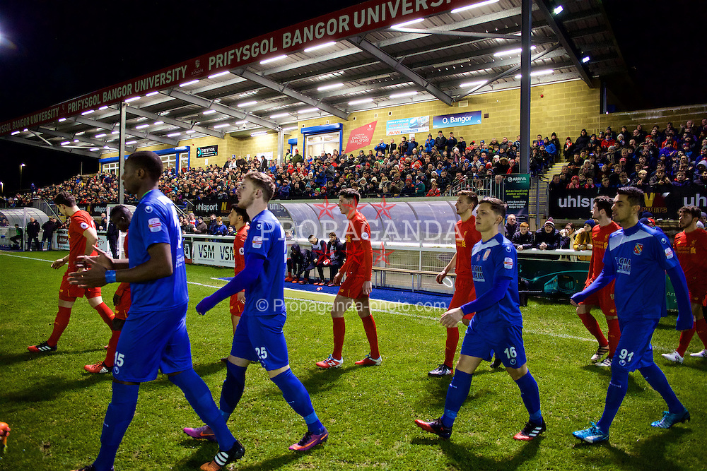 BANGOR, WALES - Wednesday, January 4, 2017: Liverpool's trialist Cian Harries walks out in front of a bumper crowd before an Under-23 friendly match against Bangor City at Bangor University Stadium. (Pic by David Rawcliffe/Propaganda)