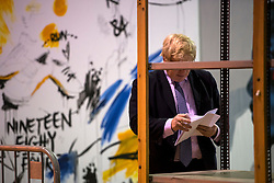 © London News Pictures. 15/04/2016. Manchester, UK. Mayor of London BORIS JOHNSON waits back stage before talking at a Vote Leave campaign event in Manchester, ahead of a referendum on Britain's membership of the EU on June 23rd, 2016. . Photo credit: Ben Cawthra/LNP