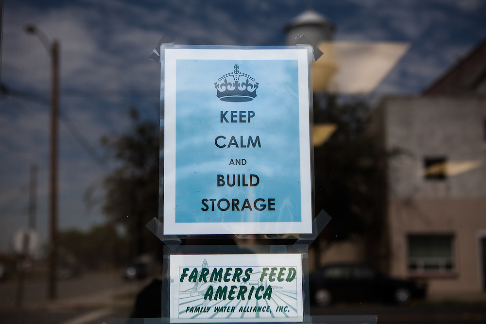 MAXWELL, CA - AUGUST 12: A sign on the door of the Family Water Alliance advocates for more reservoirs. (Photo by Max Whittaker/Prime for The Washington Post)