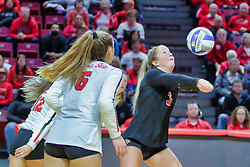 BLOOMINGTON, IL - October 12: Courtney Pence during a college Women's volleyball match between the ISU Redbirds and the Valparaiso Crusaders on October 12 2018 at Illinois State University in Bloomington, IL. (Photo by Alan Look)