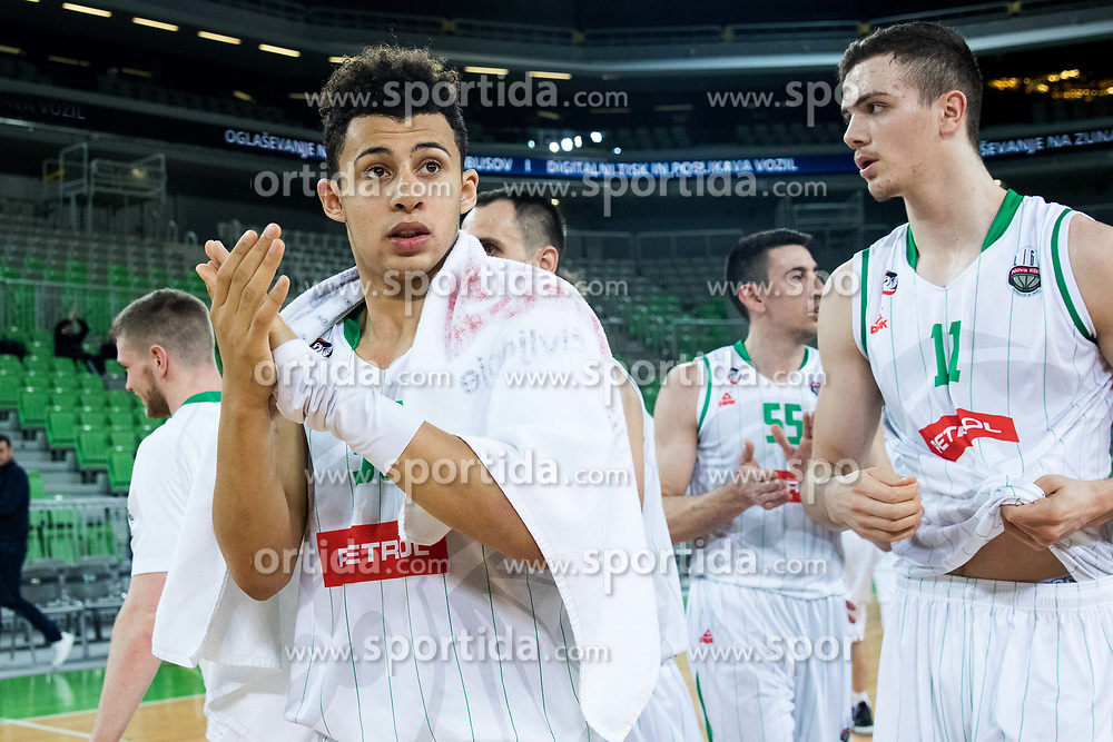 Issuf Sanon of Petrol Olimpija and Marko Simonovic of Petrol Olimpija after 2nd leg basketball match between KK Petrol Olimpija and KK Rogaska in quarter final of  Pokal SPAR 2018/19, on January 14, 2019 in Arena Stozice, Ljubljana, Slovenia. Photo by Matic Ritonja / Sportida