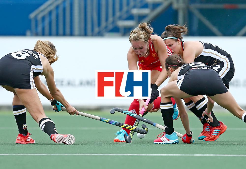 New Zealand, Auckland - 18/11/17  <br /> Sentinel Homes Women&rsquo;s Hockey World League Final<br /> Harbour Hockey Stadium<br /> Copyrigth: Worldsportpics, Rodrigo Jaramillo<br /> Match ID: 10293 - ENG vs GER<br /> Photo: (16) DEFROAND Emily against (5) ORUZ Selin, (8) SCHR&Ouml;DER Anne&nbsp;(C) and (12) STAPENHORST Charlotte