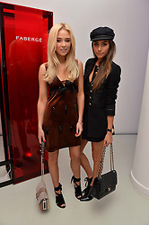 Left to right, NICOLA HUGHES and GEORGIA SALAMAT at the Fabergé #SayYesInColour Launch held at Rook & Raven, 7 Rathbone Place, London on 20th October 2016.