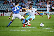 West Ham no 9 Sam Ford on the  attack during the Pre-Season Friendly match between Peterborough United and West Ham United at London Road, Peterborough, England on 19 July 2016. Photo by Nigel Cole.