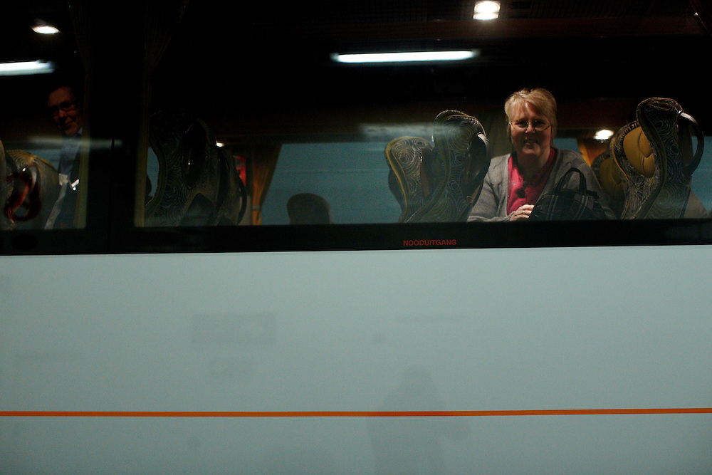 Ferryboat between Denmark and Sweden, 17.04.10..Due to the closed airspace over Europe, a group of 24 norwegian retirees hired a bus for 9300 euro, and embarked on the 20 hour roadtrip back home from vacation...Photo by: Eivind H. Natvig/MOMENT
