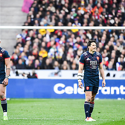 Gael Fickou and Francois Trinh Duc of France during the RBS Six Nations match between France and Wales at Stade de France on March 18, 2017 in Paris, France. (Photo by Anthony Dibon/Icon Sport)