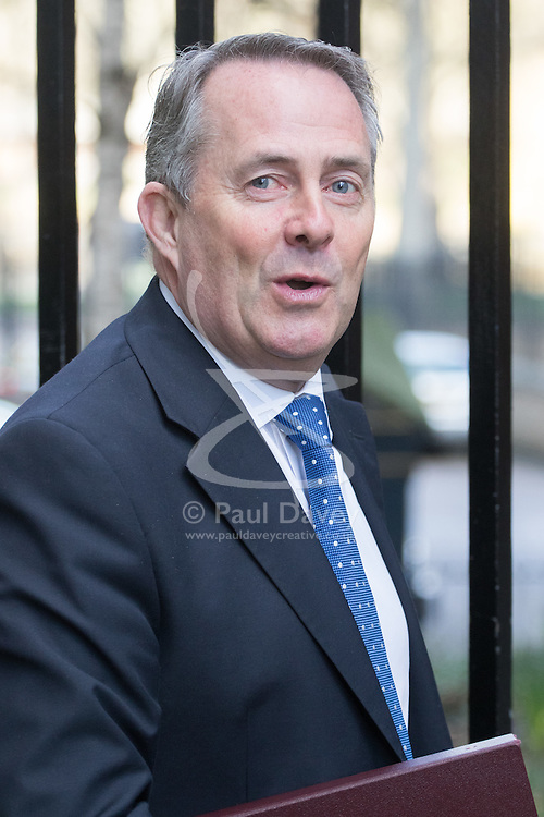 Downing Street, London, February 28th 2017. International Trade Secretary Liam Fox attends the weekly cabinet meeting at 10 Downing Street in London.