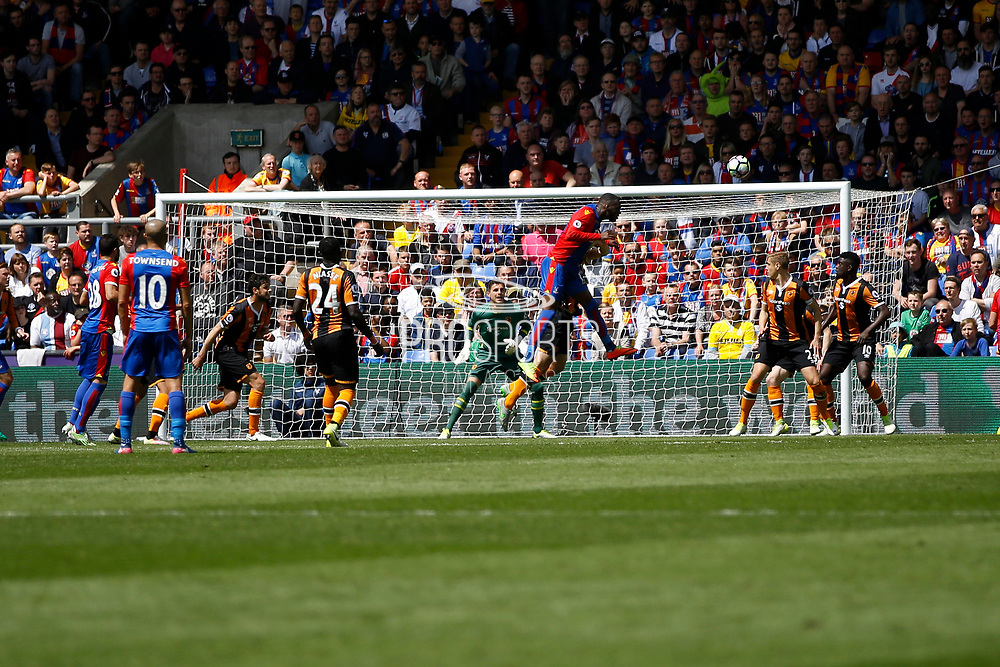 Crystal Palace striker Christian Benteke scores a goal (score 2-0) during the Premier League match between Crystal Palace and Hull City at Selhurst Park, London, England on 14 May 2017. Photo by Andy Walter.