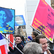 Hundreds Anti-Brexit and Pro holding placards demonstration during Brexit vote in Parliament on 15 January 2019, London, UK